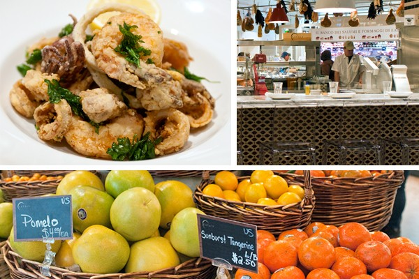 Top: La Piazza's lemon-splashed calamari, octopus, and shrimp, and its salumi and formaggi station; bottom: the market's citrus selection