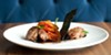 Bacon-cured sweetbreads with lime-seasoned carrot
