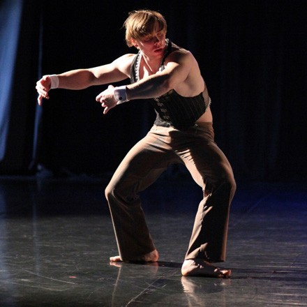 "Trevor Szuba-Schneider performs in Joanna Rosenthal's ""dark trio"" It Is What It Is, part of Same Planet Different World Dance Theatre's 15th anniversary show, ""Fifteen."""
