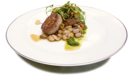 Tripe sausage with cranberry bean ragout and pea shoot salad