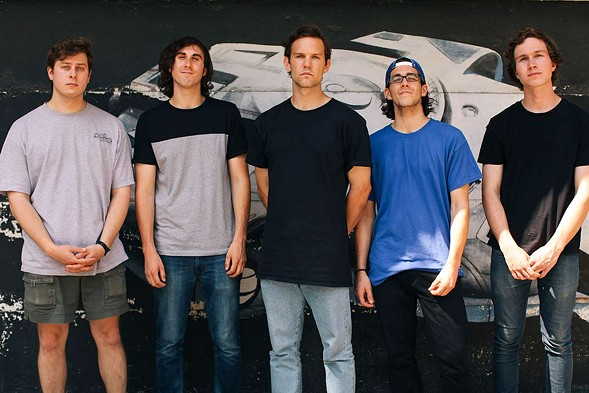 Knuckle Puck, from left: guitarists Kevin Maida and Nick Casasanto, drummer John Siorek, vocalist Joe Taylor, and bassist Ryan Rumchaks - DEMI CAMBRIDGE