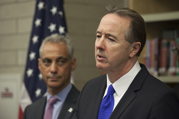 Forrest Claypool was named the Chicago Public Schools CEO last month by Mayor Rahm Emanuel (left). - ASHLEE REZIN/FOR SUN-TIMES MEDIA
