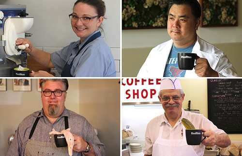 "Photos from Fooditor's publicity campaign, in which locals chefs posed with Fooditor mugs; the images originally ran with the words ""Fooditor is coming"" underneath. - MICHAEL GEBERT"