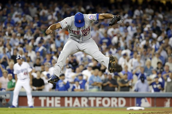 Closer Jeurys Familia jumps for joy in Los Angeles Thursday night after sealing the Mets' 3-2 win over the Dodgers with a strikeout. - AP PHOTO/LENNY IGNELZI