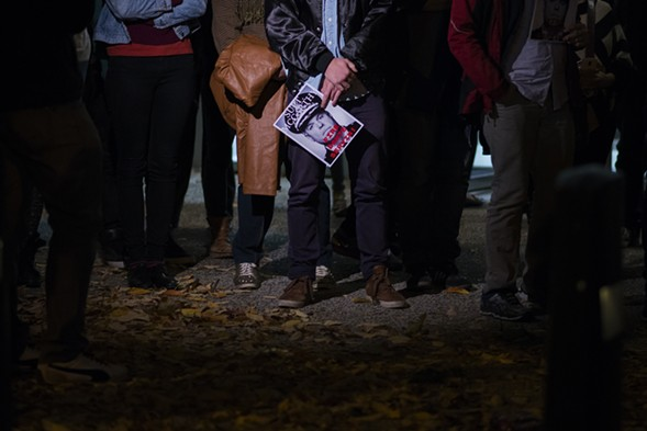 Protesters line up outside the Police Board meeting Thursday. Some speakers at the meeting called for McCarthy's resignation. - (LUCIO VILLA/CITY BUREAU)