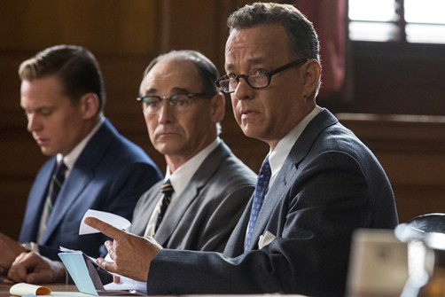 Mark Rylance (center) and Tom Hanks (right) in Bridge of Spies