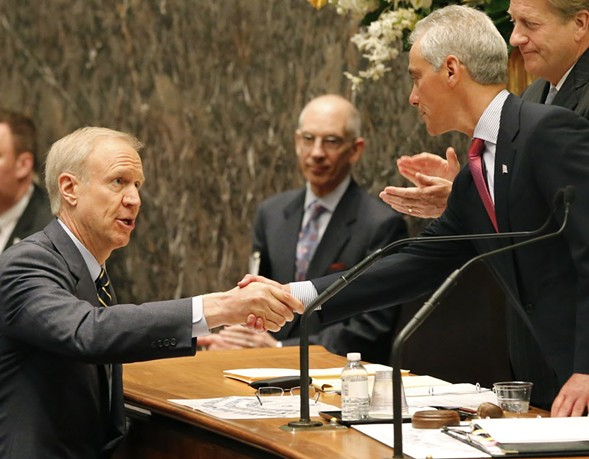 What's up with these guys? Brown and Korecki will dish on Rauner and Rahm at the Hideout Tuesday. - (AP/CHARLES REX ARBOGAST)