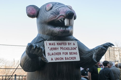 Stinky the Riv Rat has some choice words for Jam Productions cofounder Jerry Mickelson. - ANDREA BAUER