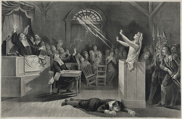 Fanciful representation of the Salem witch trials, lithograph from 1892 - JOSEPH E. BAKER
