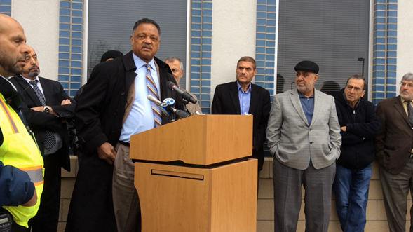 Reverend Jesse Jackson addressed worshipers at the Orland Park Prayer Center Friday, calling for Christian solidarity with Muslims. - MEREDITH RODRIGUEZ