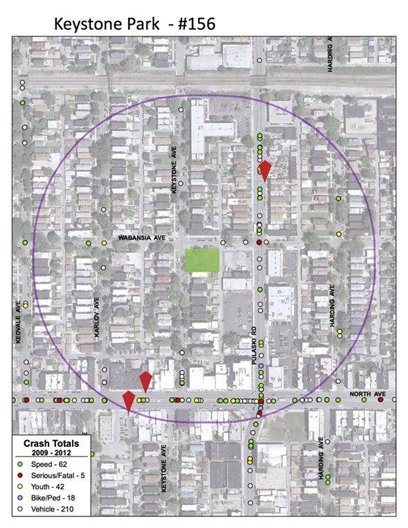 A still shot of a CDOT crash map for the Keystone Park safety zone, which is outlined in purple. Green dots indicate crashes that involved speeding, red dots indicate serious or fatal crashes, yellow dots indicate crashes involving youth, and blue dots indicate that a pedestrian or bicyclist was struck. A single crash may be represented by multiple dots, and due to mapping overlap, not all dots are visible. - (CHICAGO DEPARTMENT OF TRANSPORTATION)