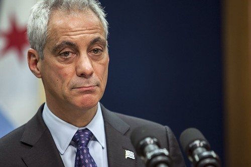 Mayor Emanuel at a news conference yesterday morning, at which he announced the firing of Chicago Police superintendent Garry McCarthy and the creation of a task force on police accountability. - ASHLEE REZIN/SUN-TIMES MEDIA VIA AP