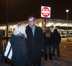 45th Ward alderman John Arena speaks with constituents at a Jefferson Park Forward event Monday. - ANDREA BAUER