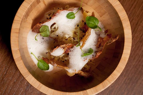 Chicken skin and potatoes at Intro - ANJALI PINTO
