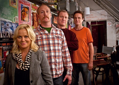 Matt Besser (far right) is producing The UCB Show along with Upright Citizens Brigade cofounders Amy Poehler, Matt Walsh, and Ian Roberts. - SEESO VIA AP