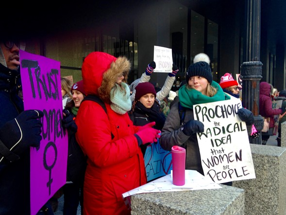 Counter protest: Pro-choice groups rallied across the street. - AIMEE LEVITT