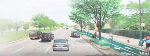 A CDOT rendering of Stony Island with a two-way protected bike lane - CDOT