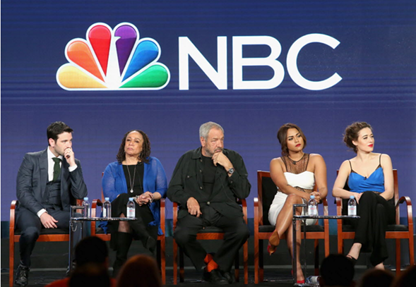 Actors from Chicago Med, Chicago Fire, and Chicago PD onstage during a panel discussion in Pasadena, California, last week. - FREDERICK M. BROWN/GETTY IMAGES
