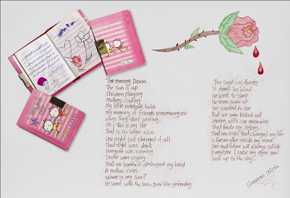 Schmeiran Oclesho's Hello Kitty notebook with messages from her friends - JIM LOMMASSON