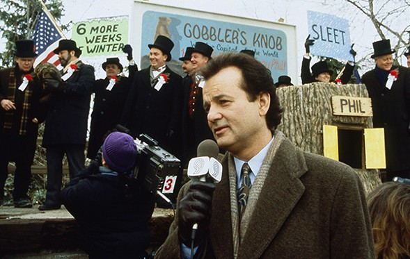 Nothing goes better with Bill Murray and Punxsutawney Phil than pizza and beer.