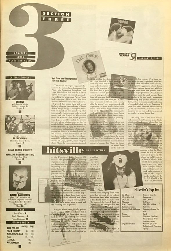 Bill Wyman's Hitsville column of January 7, 1994. Click to enlarge. - PHOTO BY PAUL HIGGINS