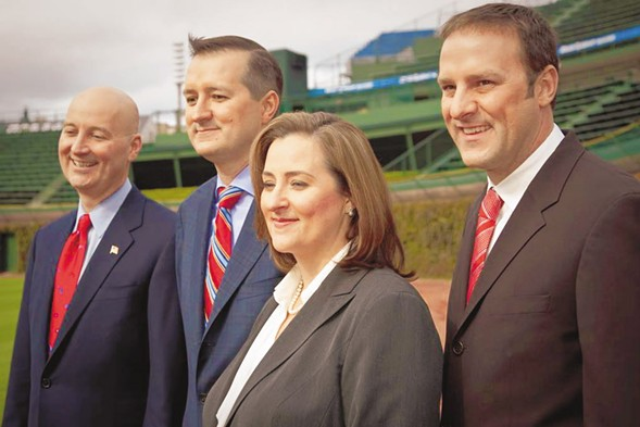 The Ricketts family, from left to right: Pete, Tom, Laura, and Todd - CHICAGO CUBS BASEBALL CLUB LLC/STEPHEN GREEN