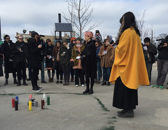 About 40 people gathered to witness and participate in the hex casting. - ZOE GREENBERG