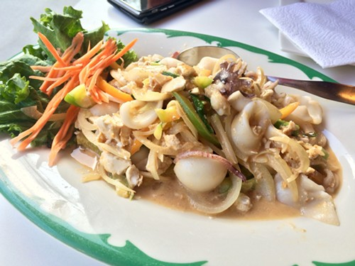 Pla muek phat khai khem (stir-fried squid with salted duck eggs) at Tom Yum Cafe - MIKE SULA