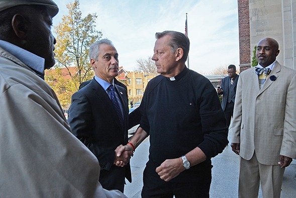 In a just-published New Yorker profile of Father Michael Pfleger, Mayor Rahm Emanuel steals the show. - BRIAN JACKSON/CHICAGO SUN-TIMES