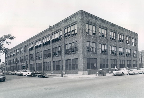 A warehouse for children: Goodwill used this building, pictured here in 1960, as a retail shop and warehouse. After purchasing the building for $75,000, Chicago Public Schools attempted to repurpose it as an elementary school. - SUN-TIMES