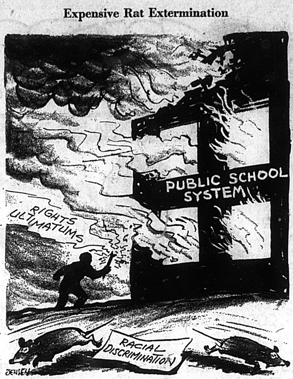 An editorial cartoon in the August 1, 1963, Chicago Daily News compared school protesters to arsonists. - CHICAGO DAILY NEWS