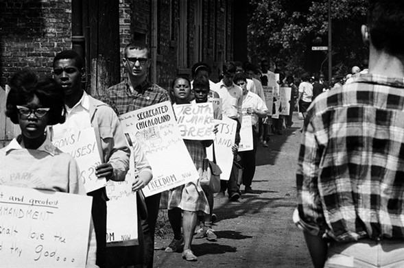 """CORE protesters carried posters that read """"The South is segregated. So is Chicagoland."""" - SUN-TIMES"""