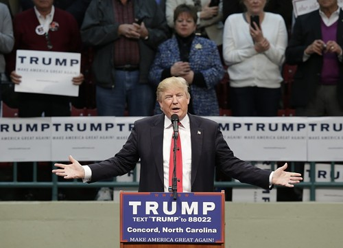 Donald Trump, speaking Monday at a rally in Concord, North Carolina. - AP PHOTO/GERRY BROOME