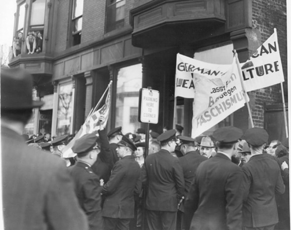 Police hold back demonstrators at a Bund rally at Lincoln Turner Hall at Diversey and Sheffield in October 1938. The Bund was bitterly opposed not only by the groups it had sought to eliminate from American society, but also by most German-Americans, the vast majority of whom wanted nothing to do with the Bund. - SUN-TIMES