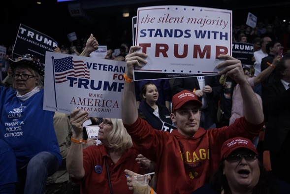 Trump voters took to the UIC Pavilion, but their candidate didn't. - CHRIS RIHA