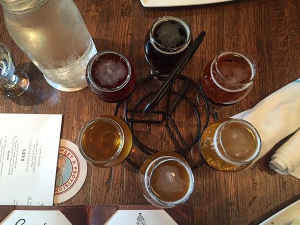 A tasting flight at Corridor Brewery & Provisions - JULIA THIEL