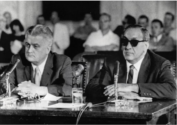 Chicago mobster Tony Accardo, right, and his attorney H. Clifford Allder at the witness table during a 1959 Senate Rackets Committee hearing in Washington, D.C. - AP PHOTO/FILE
