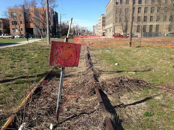Abandoned BNSF rail line near 21st and Sangamon, which will become part of the Paseo this summer. - JOHN GREENFIELD