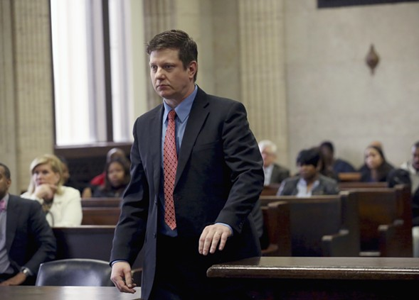 Jason Van Dyke, on trial for murder, pictured in a place he doesn't want to be. - AP