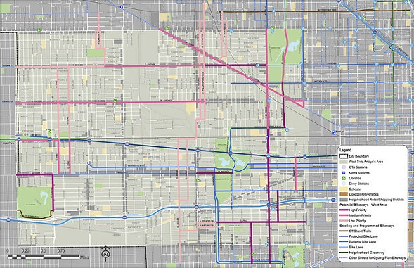 A map of the west-side study area, with potential new bikeways in pink - CHICAGO DEPARTMENT OF TRANSPORTATION