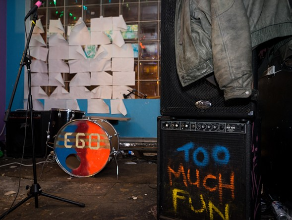 Ego's gear waits for the band's set on the final night of Wally's World. - CHRIS RIHA