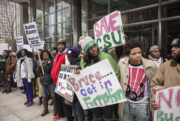 Chicago State University students and supporters demonstrated in the Loop in February. - RICH HEIN/SUN-TIMES