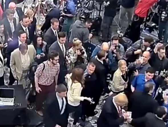CCTV video footage released by Florida police shows Breitbart's Michelle Fields, center left, and her encounter with Trump campaign manager Corey Lewandowski. - JUPITER POLICE DEPARTMENT