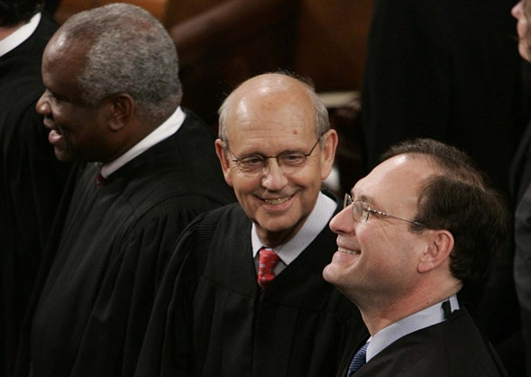 Left to right: U.S. Supreme Court Justices Clarence Thomas, Stephen Breyer, and Samuel Alito. - AP PHOTO/EVAN VUCCI
