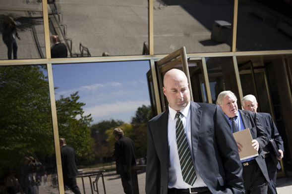 Richard Vanecko leaves a September 2013 hearing during the involuntary manslaughter trial over the death of David Koschman. - JESSICA KOSCIELNIAK / CHICAGO SUN-TIMES