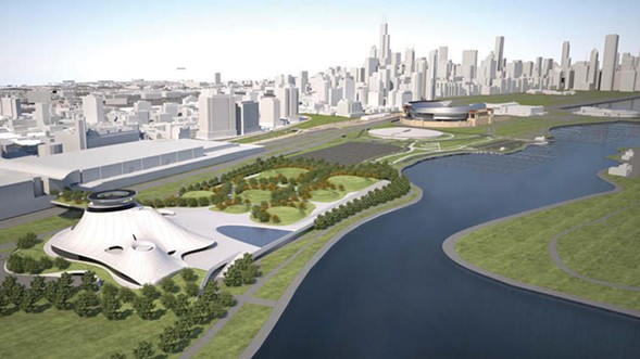A rendering of the current proposal to build the museum on McCormick Place's Lakeside Center site - LUCAS MUSEUM OF NARRATIVE ART