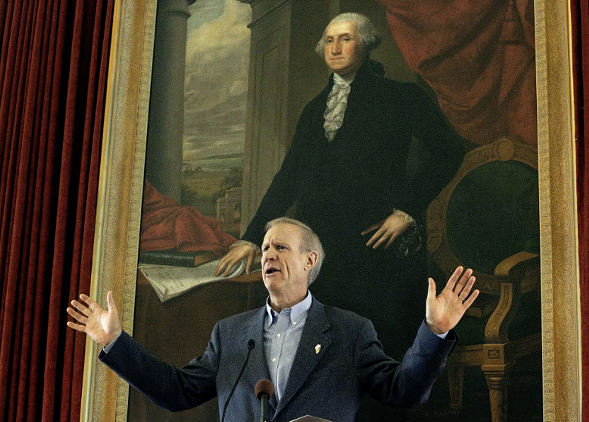 Illinois governor Bruce Rauner at the Old State Capitol in Springfield - AP PHOTO/SETH PERLMAN