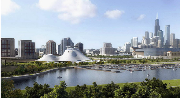 A rendering of the Lucas Museum on the originally proposed lakefront site south of Soldier Field. - LUCAS MUSEUM OF NARRATIVE ART VIA AP