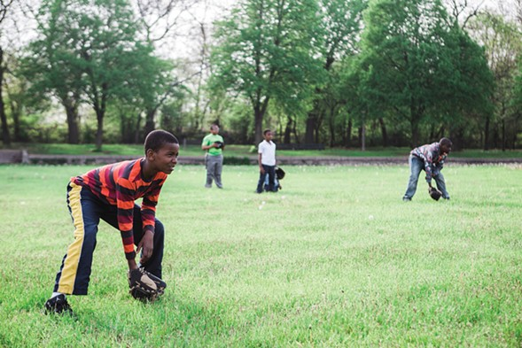 Members of the Hamilton Park baseball league practice on a Wednesday evening in May. - JEFFREY MARINI