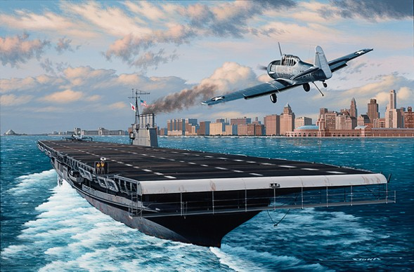 A painting of a plane landing on an aircraft carrier in Lake Michigan during World War II. - COURTESY WTTW